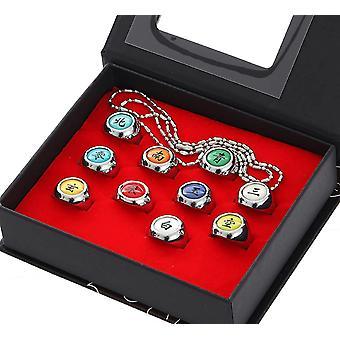 11pcs Akatsuki Rings Set Anime Naruto Cosplay Prop Ninja Uchiha Itachi Necklace Mens Jewelry