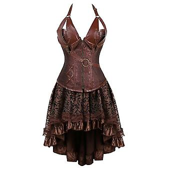 Women Gothic Steampunk Corset Dress Pirate Costume Pu Leather Corset Bustier Lingerie Top With Asymmetric Floral Lace Skirt Set