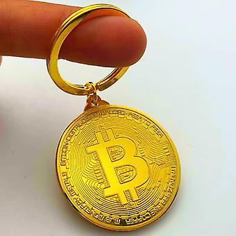 Bitcoin Schlüsselanhänger Vergoldete Münze Physische Münze Gedenkmedaille Sammlung Münze Gold Münze Gedenkmünze