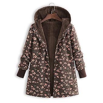 Fleece Lined Coat Women Floral Baggy Jacket Winter Warm Outwear Top