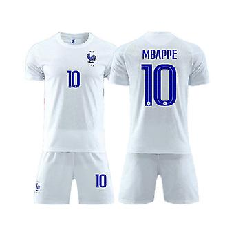 France Away White Jersey No.10 Mbappe Adult Kids Football Jersey