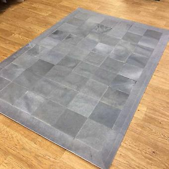 Rugs -Patchwork Leather Cubed Cowhide - Light Grey with Border