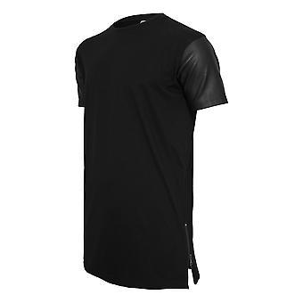 Urban classics - SIDEZIP konstläder lång skjorta svart