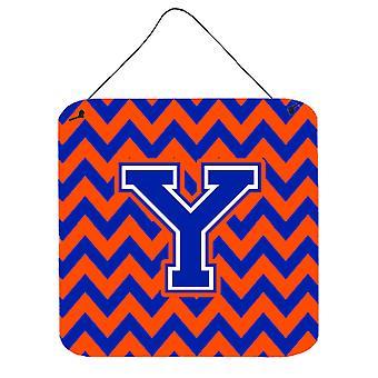 Buchstabe Y Chevron orangenen und blauen Wand oder Tür hängen Drucke