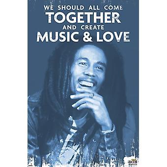 Bob Marley Musik & Liebe Poster drucken (24 x 36)