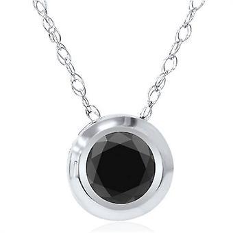 1/2 ct ブラック ダイヤモンド ベゼル ソリティア ペンダント ホワイトゴールド
