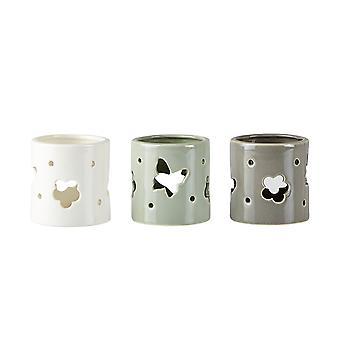 KJ Collection Set de 3 porte-lumignon, fleur