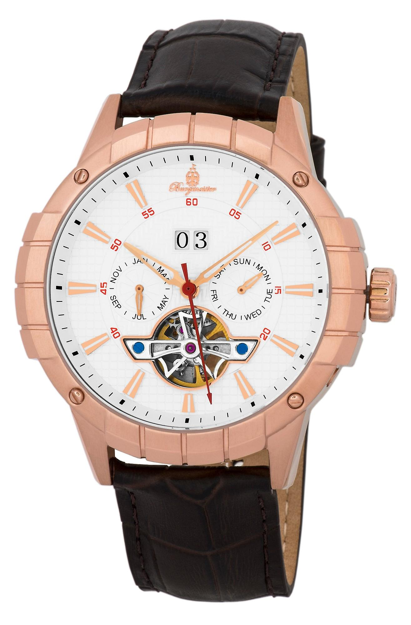Burgmeister BM342-315 Palmdale, Gents automatic watch, Analogue display - Water resistant, Stylish leather strap, Classic men's watch