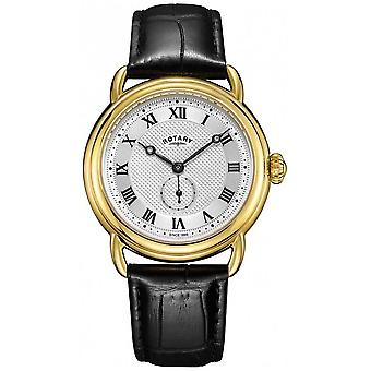 Rotary Mens Canterbury Gold Case Black Leather Strap GS05338/21 Watch