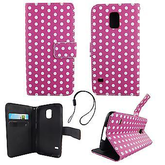 携帯電話サムスン Galaxy S5 のモバイル ポーチ/S5 ネオ水玉パープル ホワイト