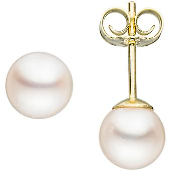 Boucles d'oreilles perle goujons 585 Akoya de 2 or jaune Boucles d'oreilles perles Pearl Earrings