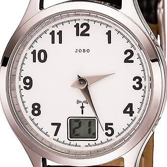 JOBO dames montre-bracelet radio radio horloge inox cuir sangle noire date Mens watch