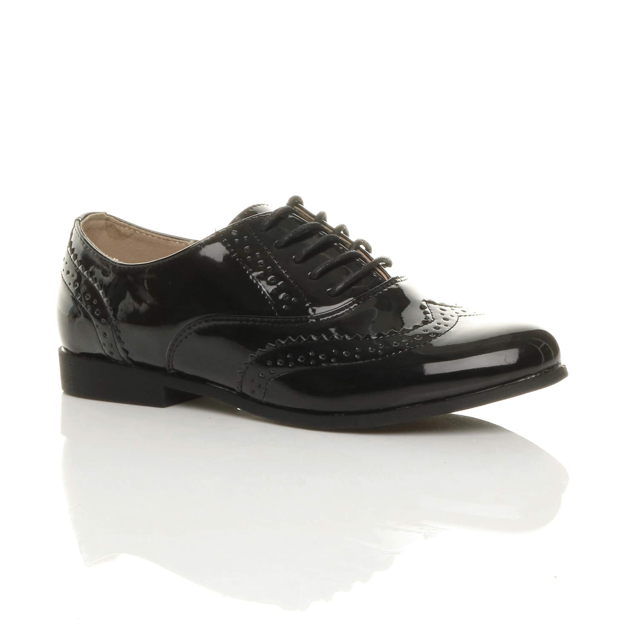 Ajvani womens flat low heel lace up smart vintage oxford shoes brogues vR9fq