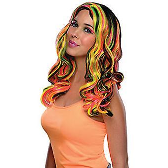 Multi ränder peruk svart dam peruk axeln längd lockigt hår neon häxa