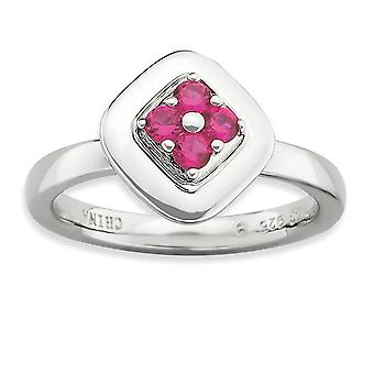 2.25mm 925 Sterling Argent Moveable Prong ensemble Rhodium plaqué Expressions Empilables Poli Créé Ruby Ring Bijoux G