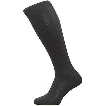 Pantherella Laburnum Rib Over de kalf Merino wollen sokken - zwart