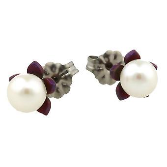 TI2 Titanium kleine Blume und Perle Ohrstecker - Mulberry-braun