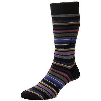 Pantherella Quakers All Over Stripe Merino Wool Socks - Black/Grey/Purple