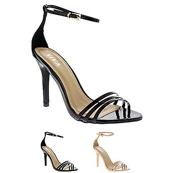 Womens Barely There Ankle Strap Open Toe Stiletto Strappy High Heels UK 3-10