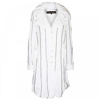 Creenstone Women's Striped Large Collar Coat
