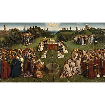 Adoration fo the Mystic Lamb, from the Ghent, Jan Van Eyck, 80x40cm