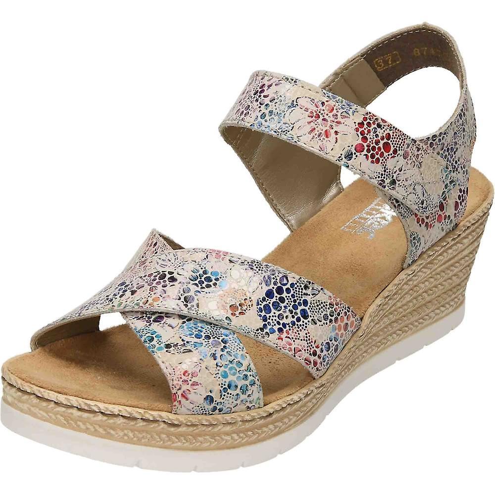 Rieker Wedge Heel Platform Leather Sandals 61943-90