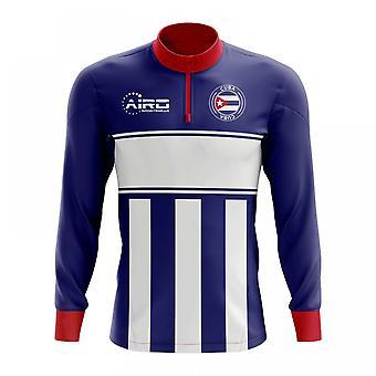 Kuuban käsite jalkapallo puoli Lämmin Powerstretch-paita vetoketjukauluksella (sini-valkoinen)