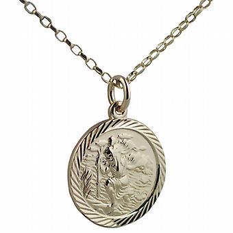 9ct золота 20 мм раунд алмазной резки края St Кристофер Кулон с Белчер цепи 24 дюймов