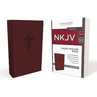 NVI, imitação couro, Borgonha, edição de letra vermelha, valor Thinline Bíblia, impressão padrão conforto Print