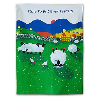 Thomas Joseph Tea Towel, Time To Put Ewer Feet Up Sheep Design