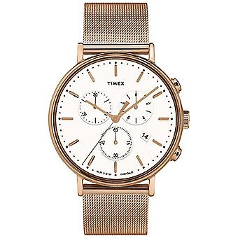 Timex | Fairfield Chrono White Dial | Cas de ton or rose | TW2T37200D7PF Watch