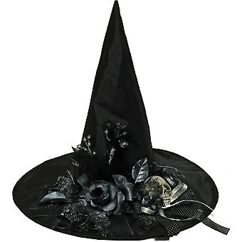 Witch Hat med blomster og kranium