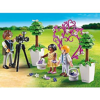 プレイモービル市生活の花の子供と写真家