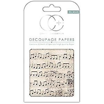 Craft Consortium Old Music Score Decoupage Papers