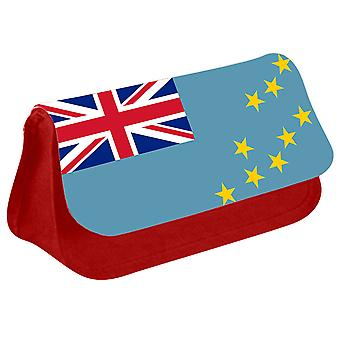 Tuvalu Flag Printed Design Pencil Case for Stationary/Cosmetic - 0183 (Red) by i-Tronixs