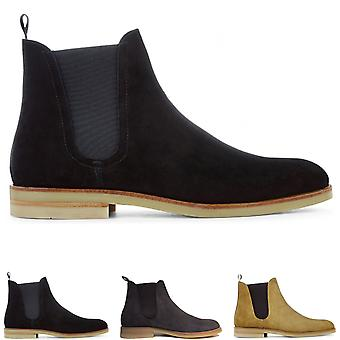 Mens H By Hudson Adlington Cow Suede Office Formal Chelsea Ankle Boots