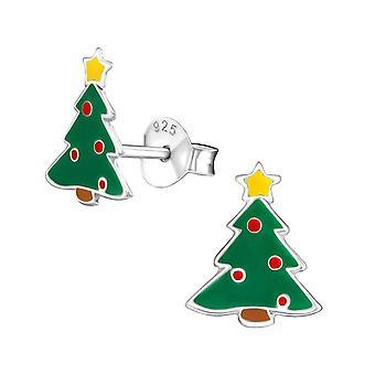 Árvore de Natal prata esterlina e brincos de epóxi Stud