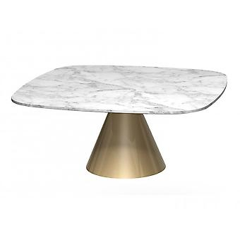 Gillmore Square Marble Coffee Table With Conical Brass Base