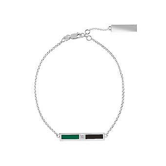 Dallas Stjerner Sterling Sølv Diamond Chain armbånd i grøn og sort