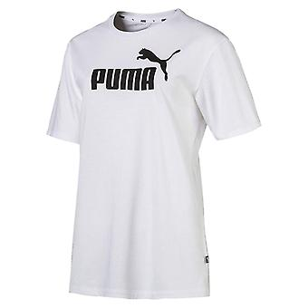 Puma Essential + logotipo Womens Sports namorado T-shirt branco