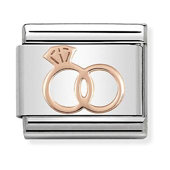 Nomination Classic Wedding Rings Steel and 9k Rose Gold Link Charm 430104/13