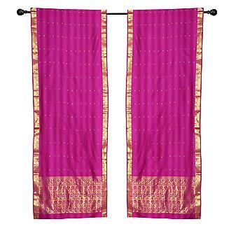 2 Boho rot lila indischen Sari Vorhänge Rod Taschenfenster Fenster Platten