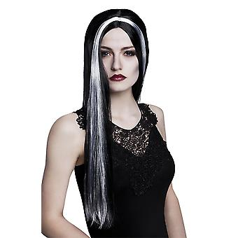 Womens Black Witch Wig with Grey Streak Halloween Accessory