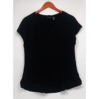 H بواسطة هالستون المرأة & ق أعلى الكتف الموسع الخامس الرقبة الشيفون هيم الأسود A303178