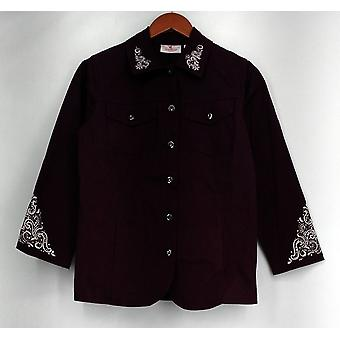 Quacker Factory (XXS) Scroll Embellished Woven Button Down Jacket Purple