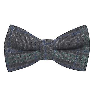 Dark Grey & Green Check Bow Tie, Tweed, Tartan, Plaid