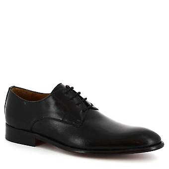 Leonardo Shoes Men's handmade lace-up derby shoes in black calf leather