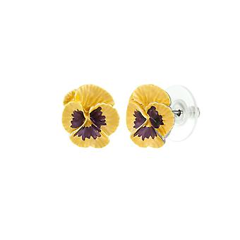Ewige Sammlung Stiefmütterchen Perfektion gelb Emaille Silber Ton Blume Ohrstecker durchbohrt Ohrringe