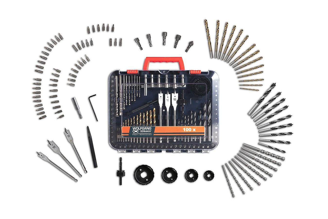 WOLFGANG Bit set for drills, for twist, wood, milling, stone and concrete drills, hole saw, attachments set carbon steel for cordless screwdrivers / drills, universal, 100 parts