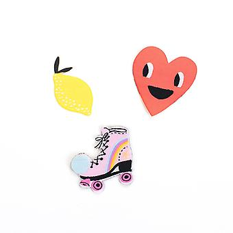 Ohh Deer Heart Lemon And Roller Skate Patch Set (Set Of 3)